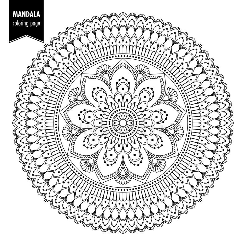 Etniczny mandala bw ilustracji