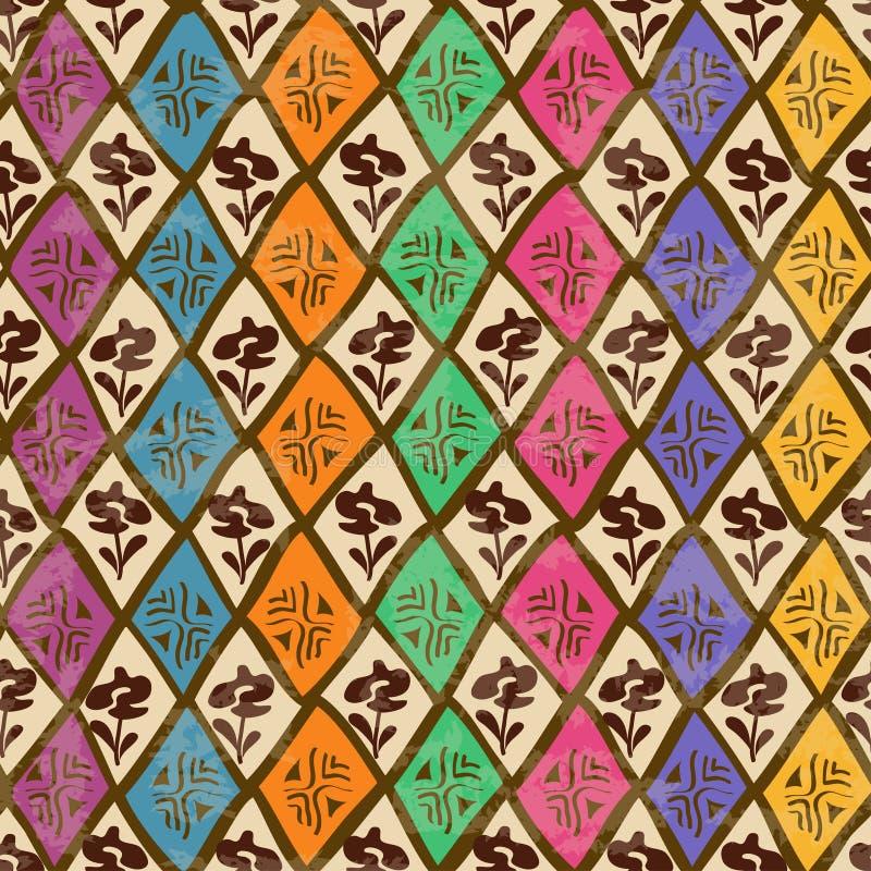 Etniczny plemienny geometryczny bezszwowy wzór ilustracji