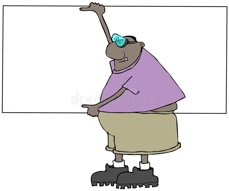 Etniczny pracownik niesie prześcieradło drywall w skrótach ilustracji