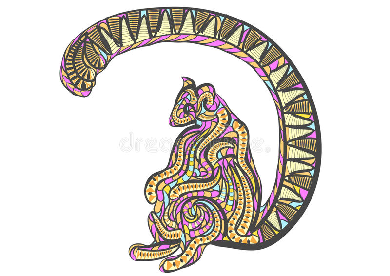 Etniczny ringowy ogoniasty lemur ilustracji