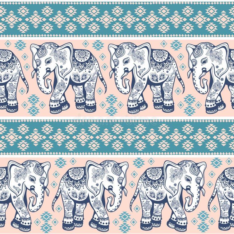 Etniczny słoń bezszwowy ilustracji
