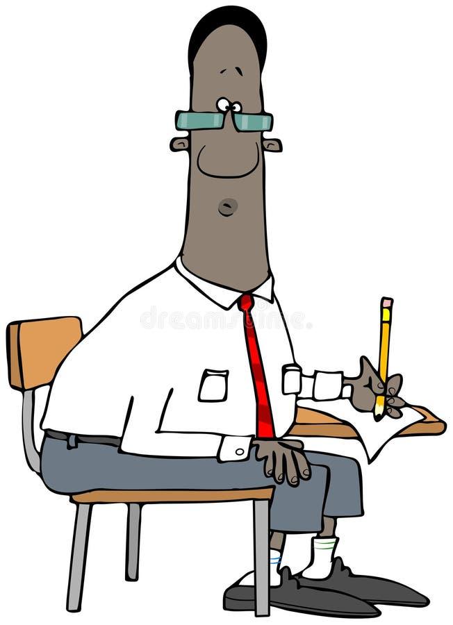 Etniczny studencki obsiadanie przy jego biurkiem royalty ilustracja
