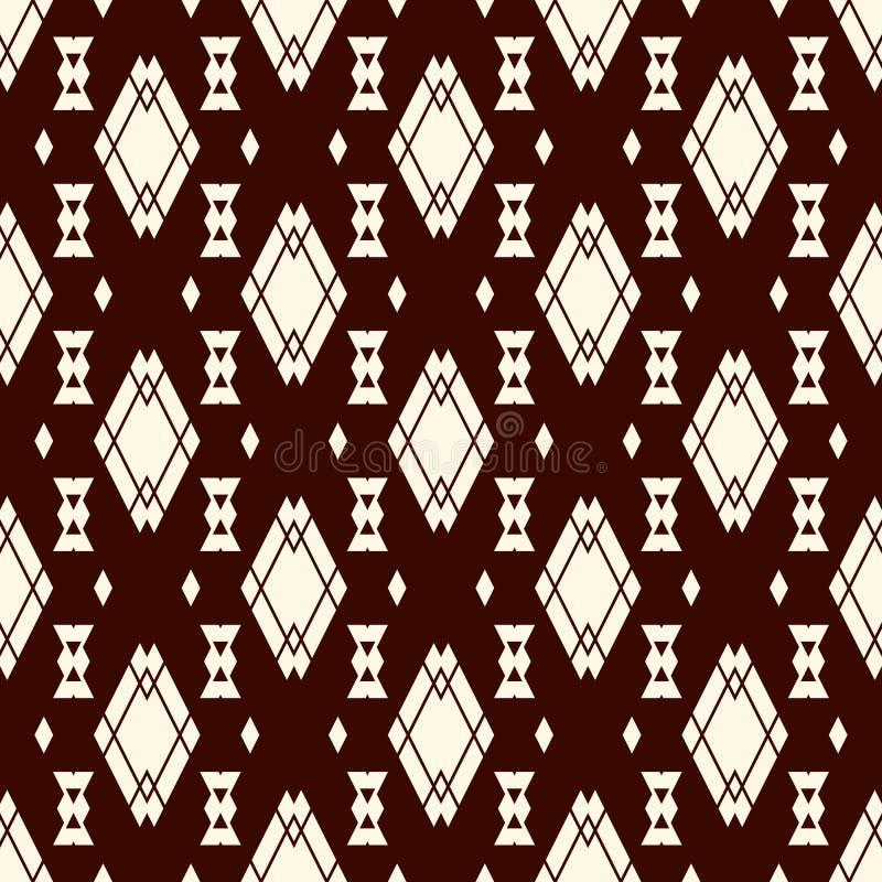 Etniczny stylowy bezszwowy wzór z częstotliwymi diamentami Rodowitego Amerykanina tło Plemienny motyw Eklektyczna tapeta royalty ilustracja