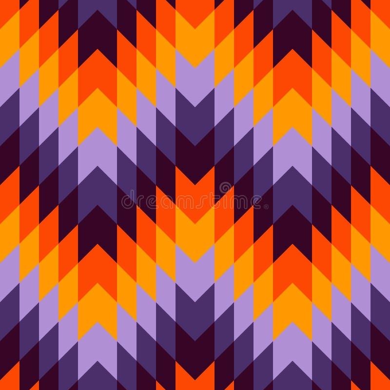 Etniczny stylowy bezszwowy wzór z szewron liniami Rodowitego Amerykanina ornamentacyjny tło Plemienny motyw mozaika kolorowa royalty ilustracja