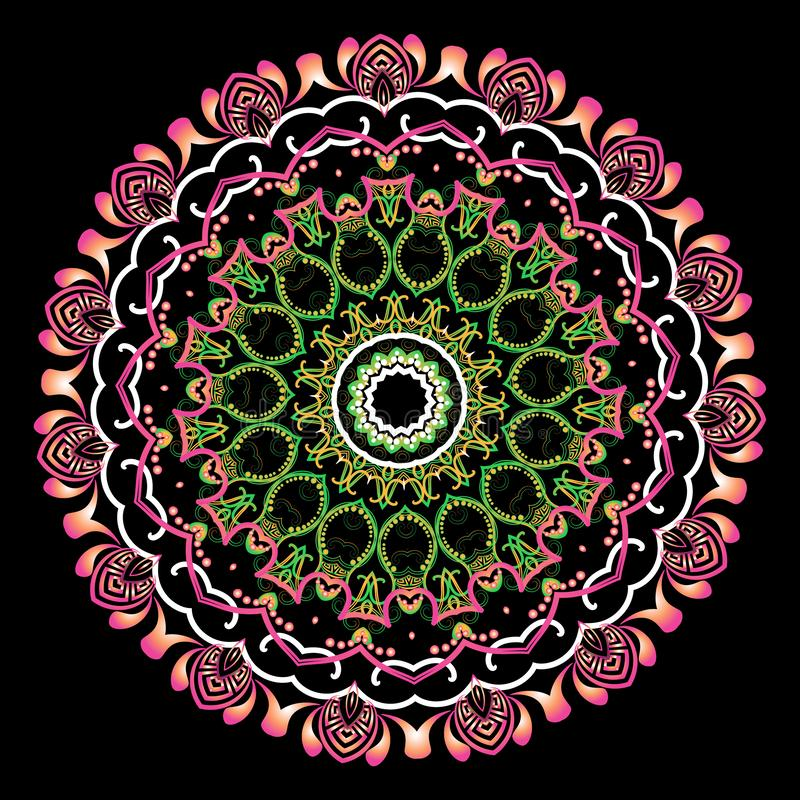 Etniczny stylowy Grecki wektorowy mandala wzór kolorowy t?a ornamental Geometryczni kształty, okręgi, kropki Rocznik Paisley royalty ilustracja