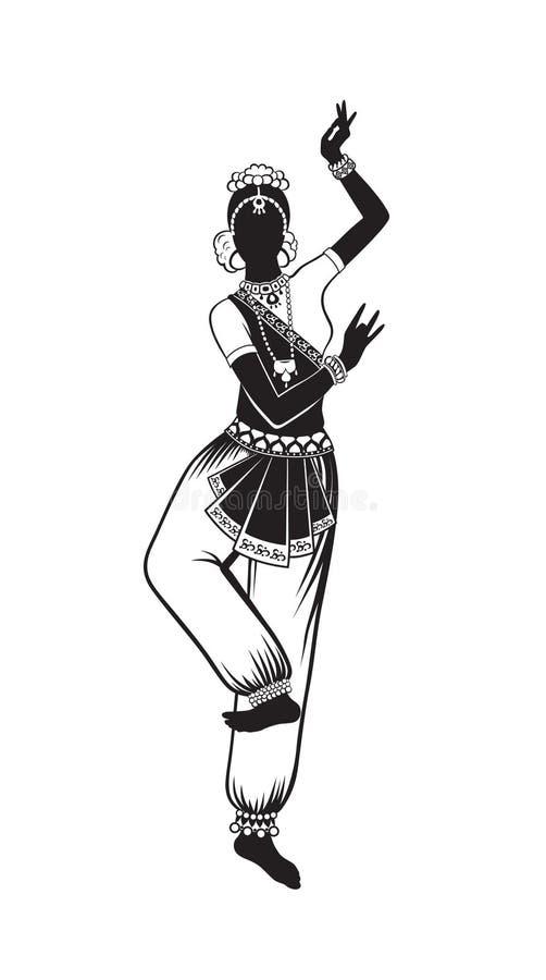 Etniczny taniec indyjska dziewczyna ilustracja wektor