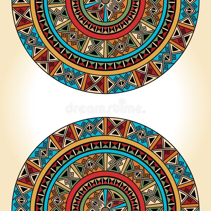 Etniczny tradycyjny kolorowy jaskrawy przyrodni round wzór na beżowym tle ilustracji