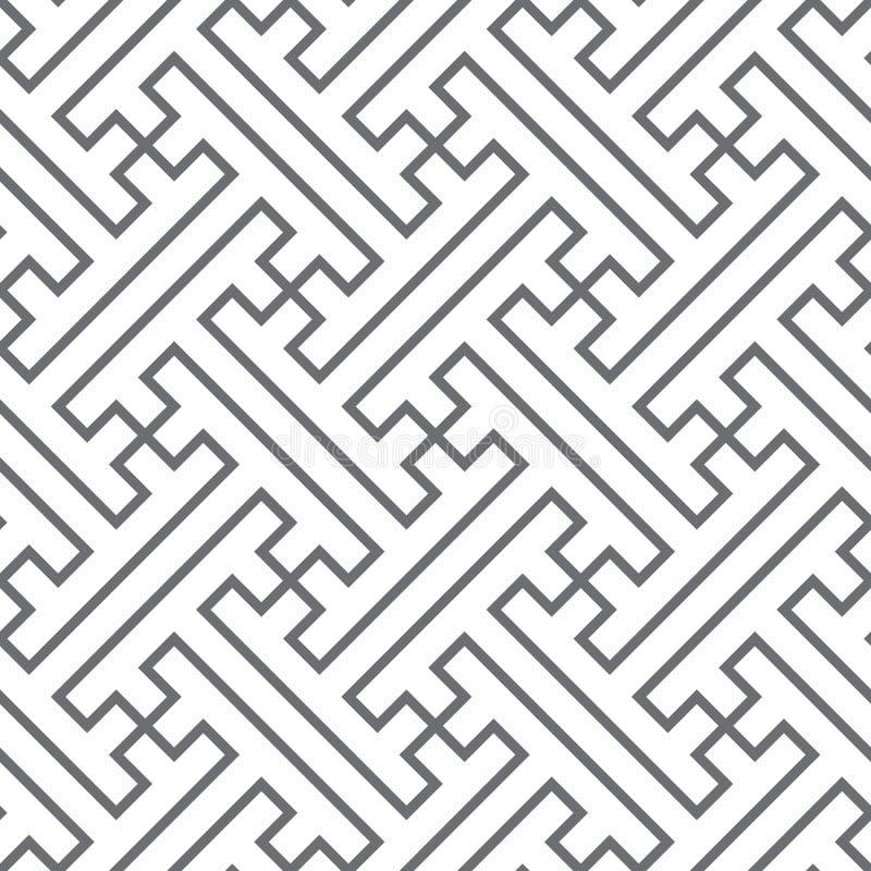 Etniczny wektorowy bezszwowy wzór - szare linie royalty ilustracja
