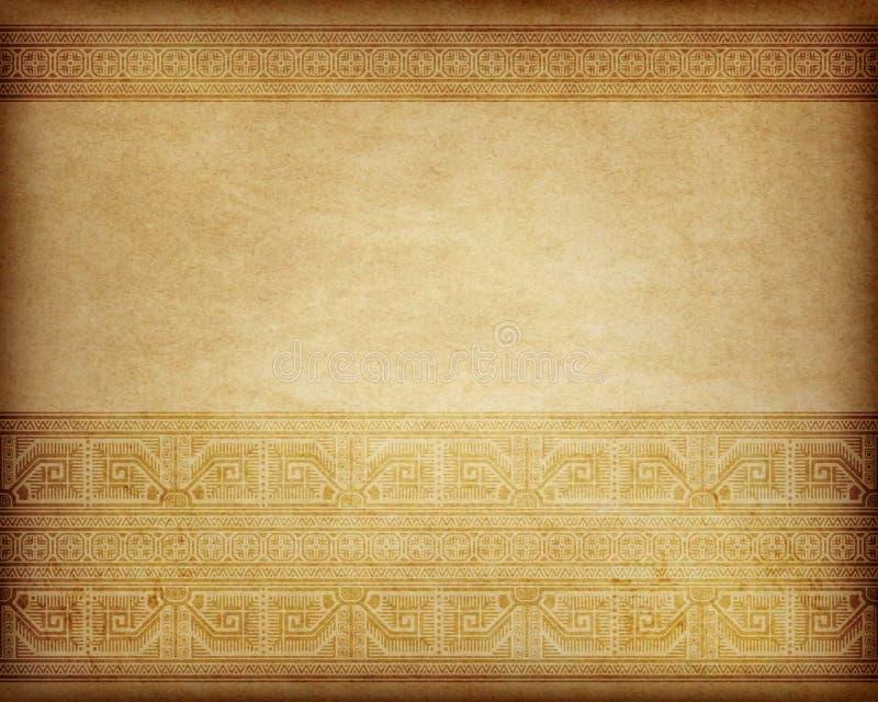 Etniczny wzór na kawałku pergamin, starzejący się papier ilustracja wektor