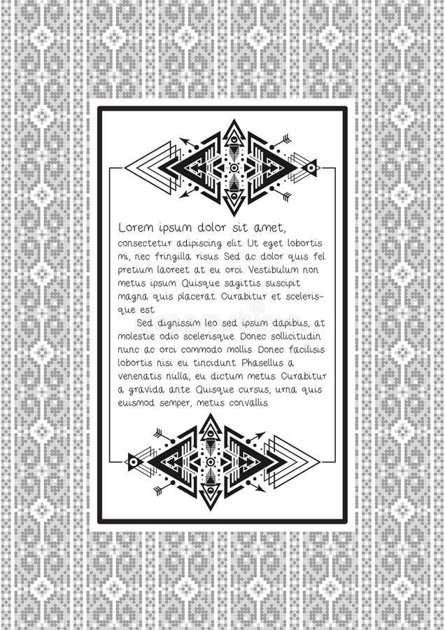 Etniczny wzór z wycena pustym szablonem na nim royalty ilustracja