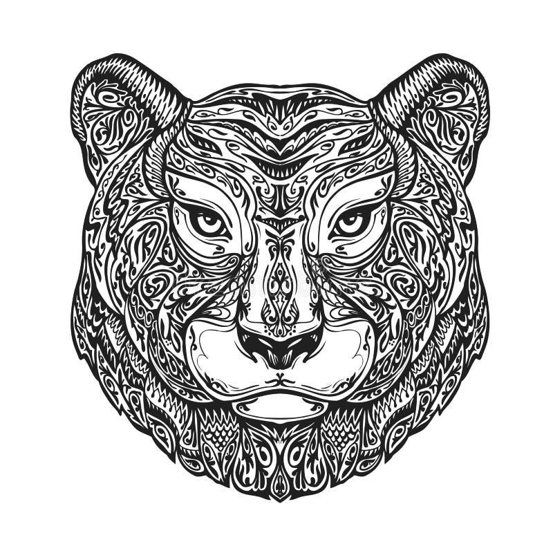 Etniczny zdobny tygrys, puma, pantera, lampart lub jaguar, Ręka rysująca wektorowa ilustracja z kwiecistymi elementami ilustracji