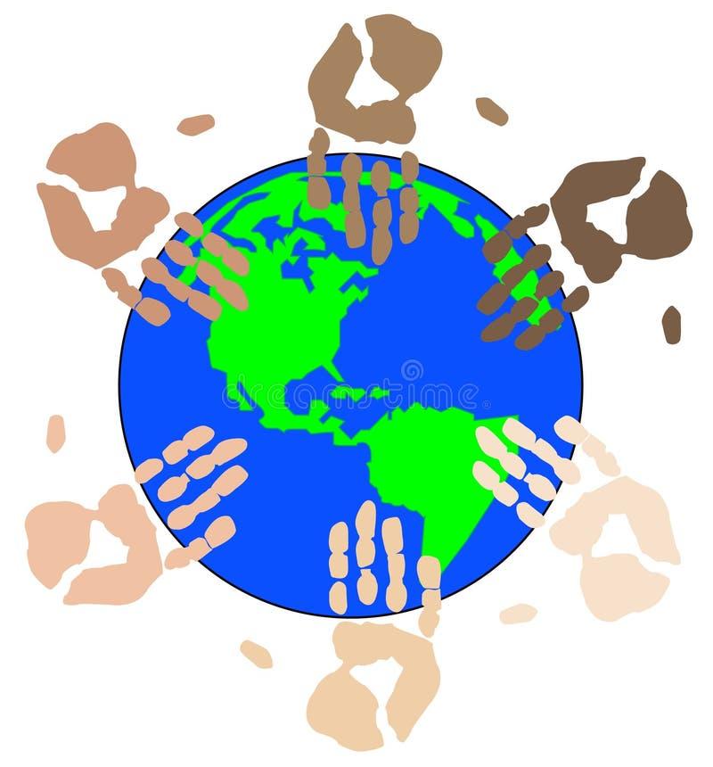 etnicznych ziemskich kul ręce ilustracja wektor