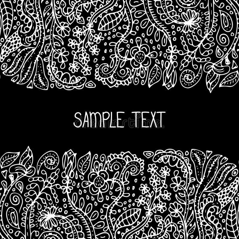 Etnisch abstract bloemen vector naadloos patroonkader Kan voor banner, kaart, affiche, uitnodiging, etiket enz. worden gebruikt stock illustratie