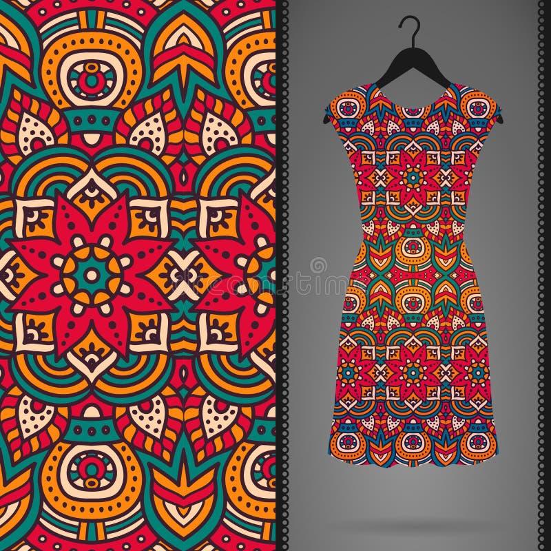 Etnisch bloemen naadloos patroon met kleding royalty-vrije illustratie