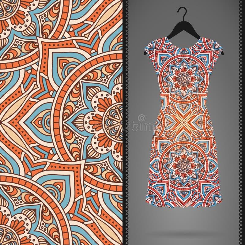 Etnisch bloemen naadloos patroon met kleding vector illustratie