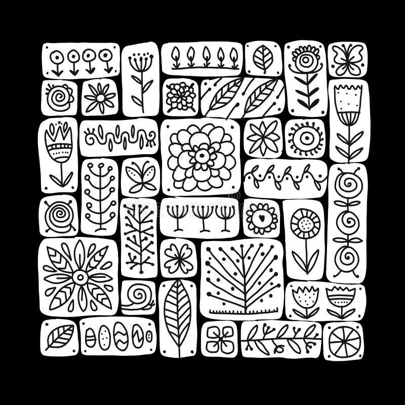 Etnisch bloemenpatroon voor uw ontwerp vector illustratie