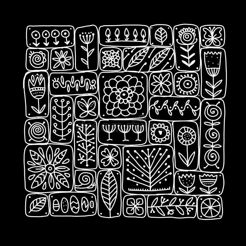 Etnisch bloemenpatroon voor uw ontwerp stock illustratie