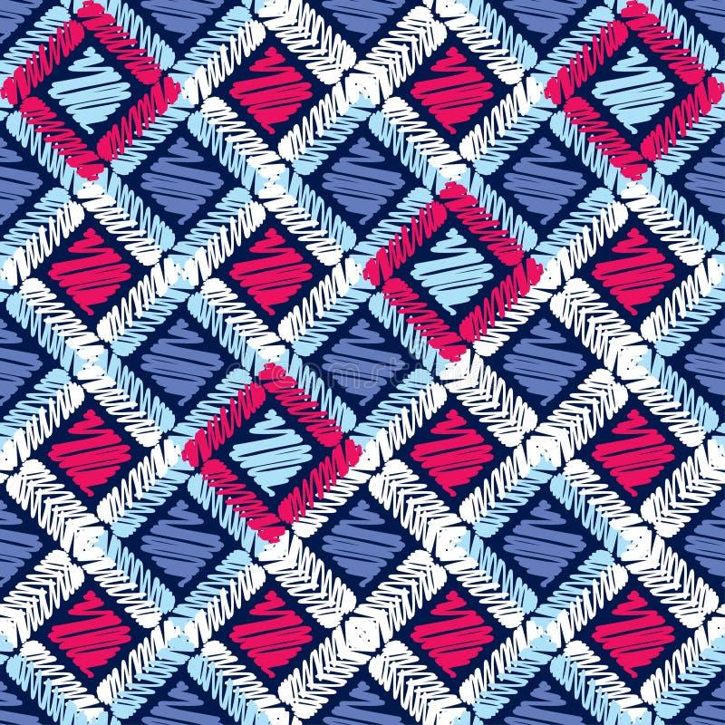 Etnisch boho naadloos patroon Borduurwerk op stof Traditioneel ornament Stammen patroon Klein ornament met vierkanten stock illustratie