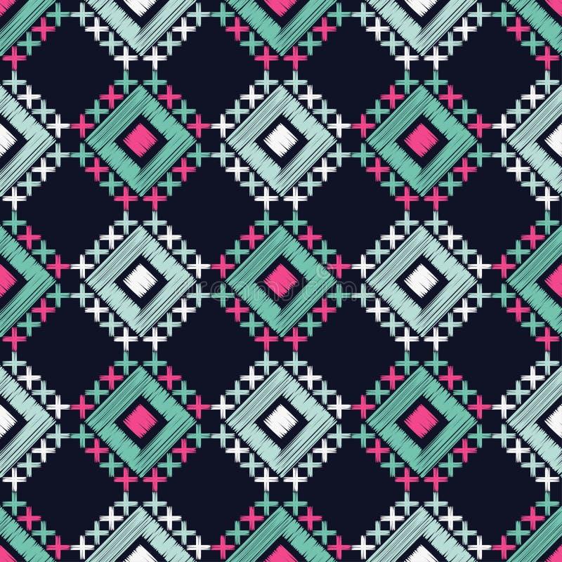 Etnisch boho naadloos patroon borduurwerk Traditioneel ornament Geometrische Achtergrond Stammen patroon Klein ornament met vierk royalty-vrije illustratie