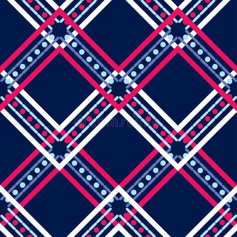 Etnisch boho naadloos patroon kant Traditioneel ornament Geometrische Achtergrond Stammen patroon Klein ornament met vierkanten royalty-vrije illustratie