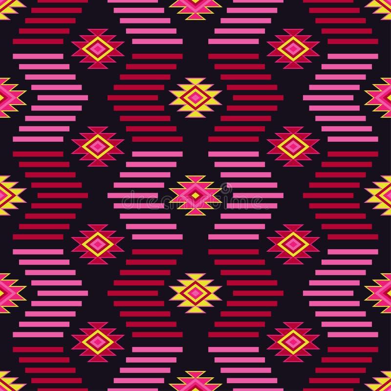 Etnisch boho naadloos patroon Stammenkunstdruk, herhaalbare achtergrond Retro motief stock illustratie