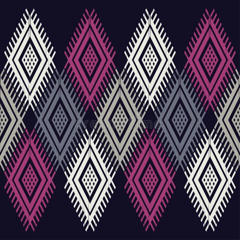 Etnisch boho naadloos patroon Traditioneel ornament Geometrische Achtergrond Stammen patroon Klein ornament met vierkanten royalty-vrije illustratie