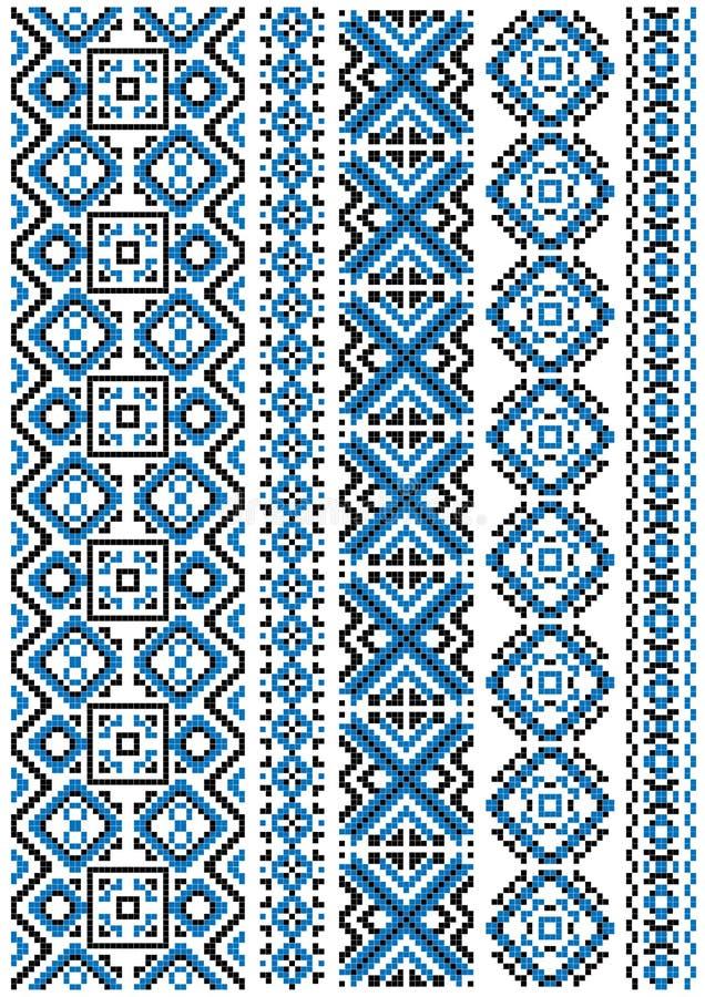 Etnisch borduurwerk naadloos bloemenpatroon royalty-vrije illustratie