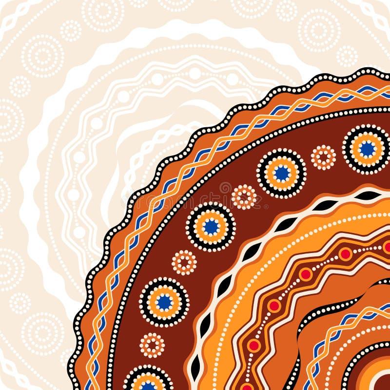 Etnisch cirkelontwerp als achtergrond Australisch traditioneel geometrisch ornament royalty-vrije illustratie