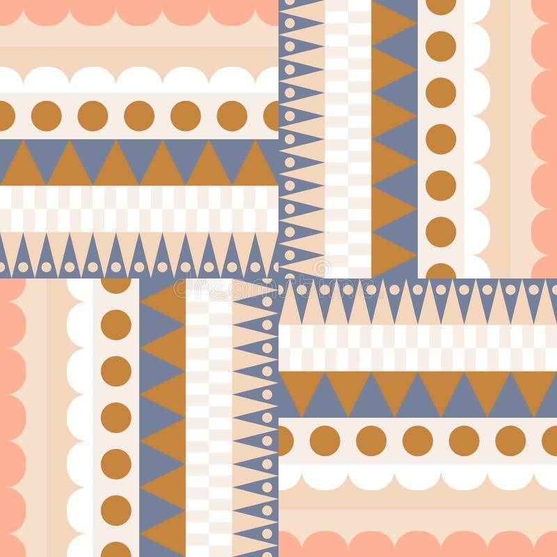 Etnisch de rijen naadloos vectorpatroon van het kleurenblok vector illustratie