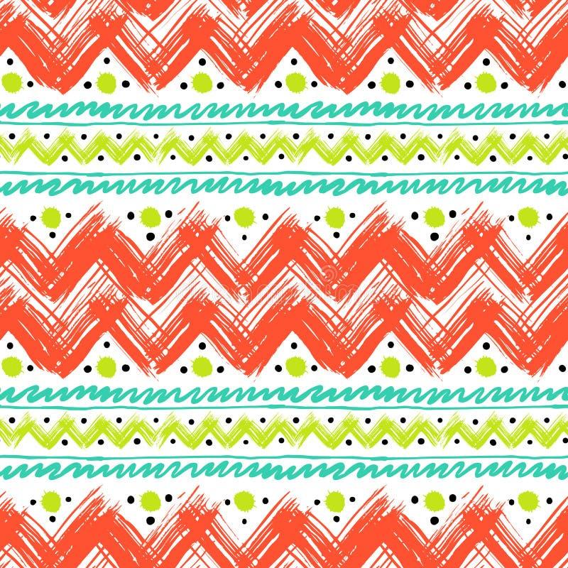Etnisch die patroon met zigzagpenseelstreken wordt geschilderd vector illustratie