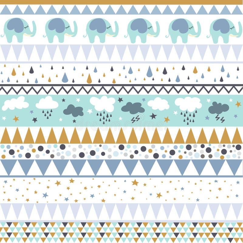 Etnisch gestreept naadloos patroon geometrisch ontwerp, babypatroon vector illustratie