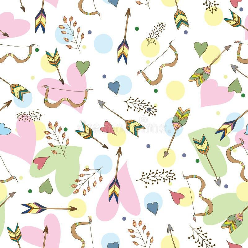 Etnisch kleurrijk naadloos die patroon in vecor wordt gemaakt stock illustratie