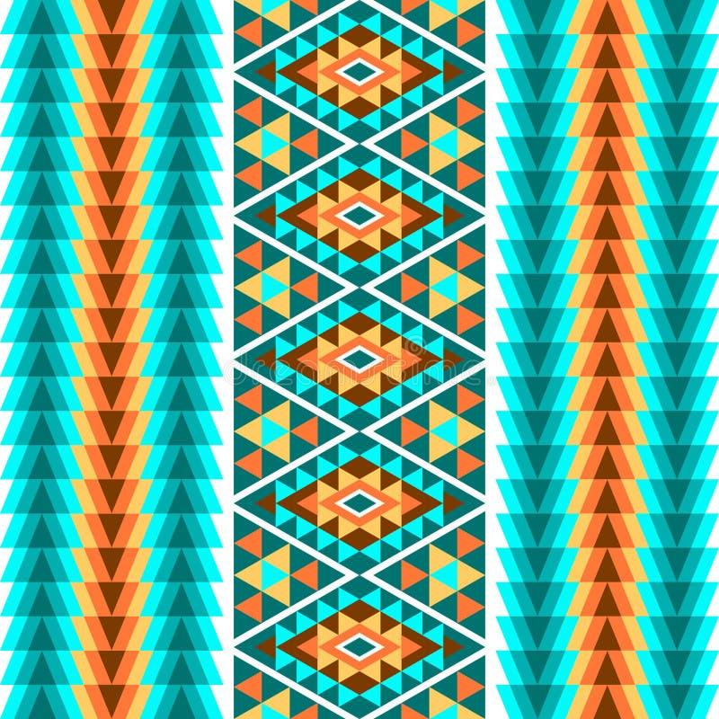 Etnisch naadloos geometrisch patroon Een kleurrijk ornament van strepen op een witte achtergrond Vector illustratie royalty-vrije illustratie