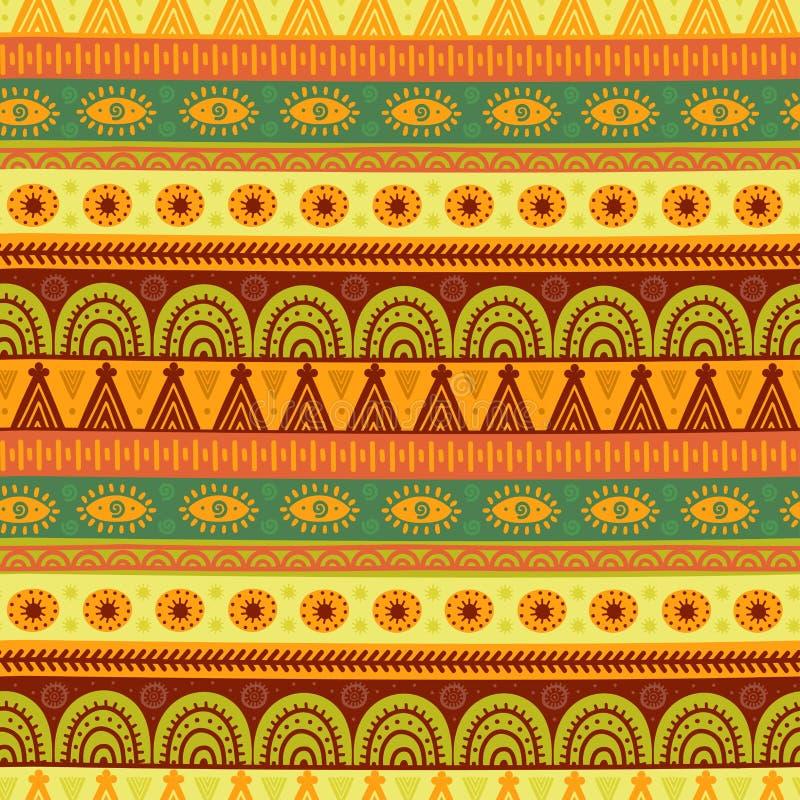 Etnisch naadloos patroon Hand getrokken stammentextuur in vector stock illustratie