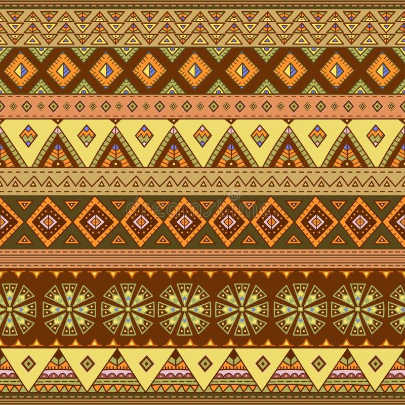 Etnisch naadloos patroon Kleurrijke grenstextuur als achtergrond stock illustratie