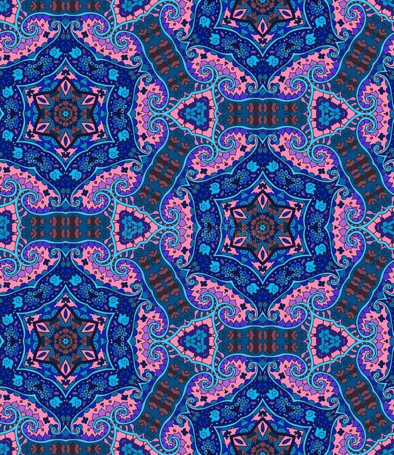 Etnisch naadloos patroon met bloemen en Paisley in roze en blauwe tonen stock illustratie