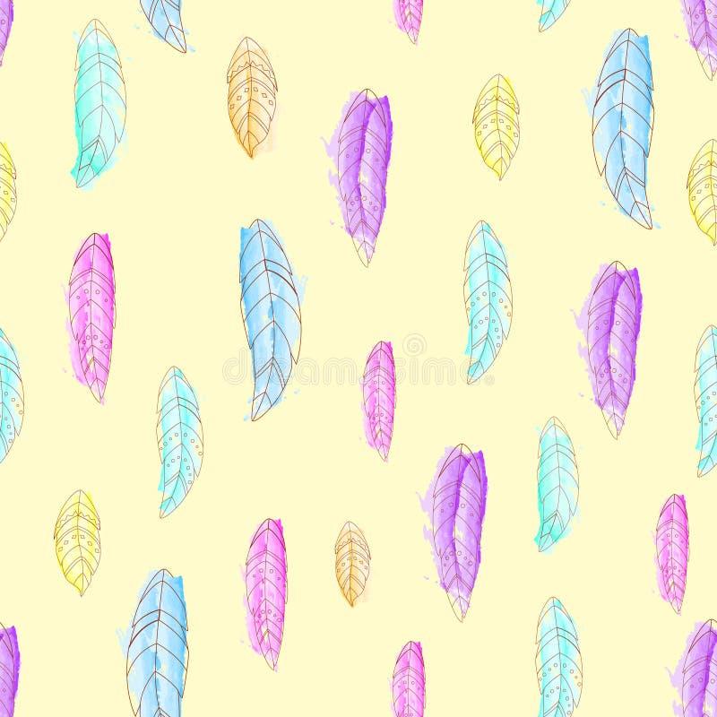 Etnisch naadloos patroon met waterverfveren royalty-vrije illustratie