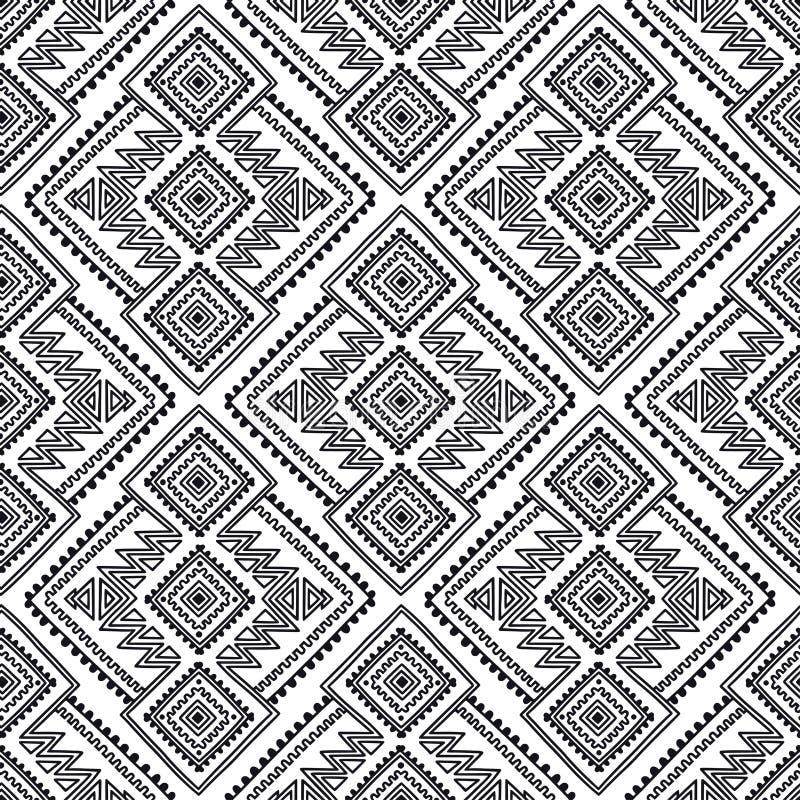 Etnisch naadloos patroon Stammenlijndruk in Afrikaanse, Mexicaanse, Amerikaanse, Indische stijl Geometrische bohoachtergrond royalty-vrije illustratie