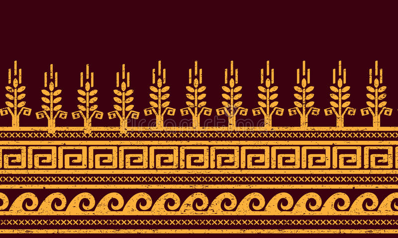 Etnisch naadloos patroon Tarwe, meander, en watersymbolen royalty-vrije illustratie