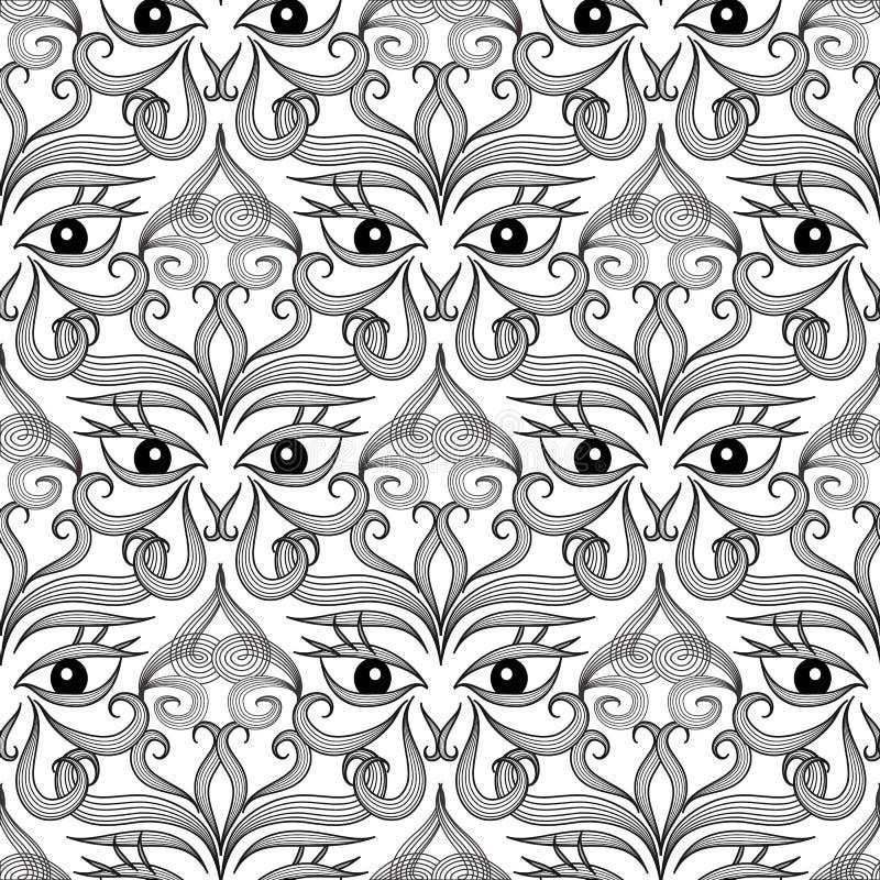 Etnisch ogen naadloos patroon Sier Abstracte Achtergrond Stammen decoratief herhaalt achtergrond Zwart-witte getrokken hand stock illustratie