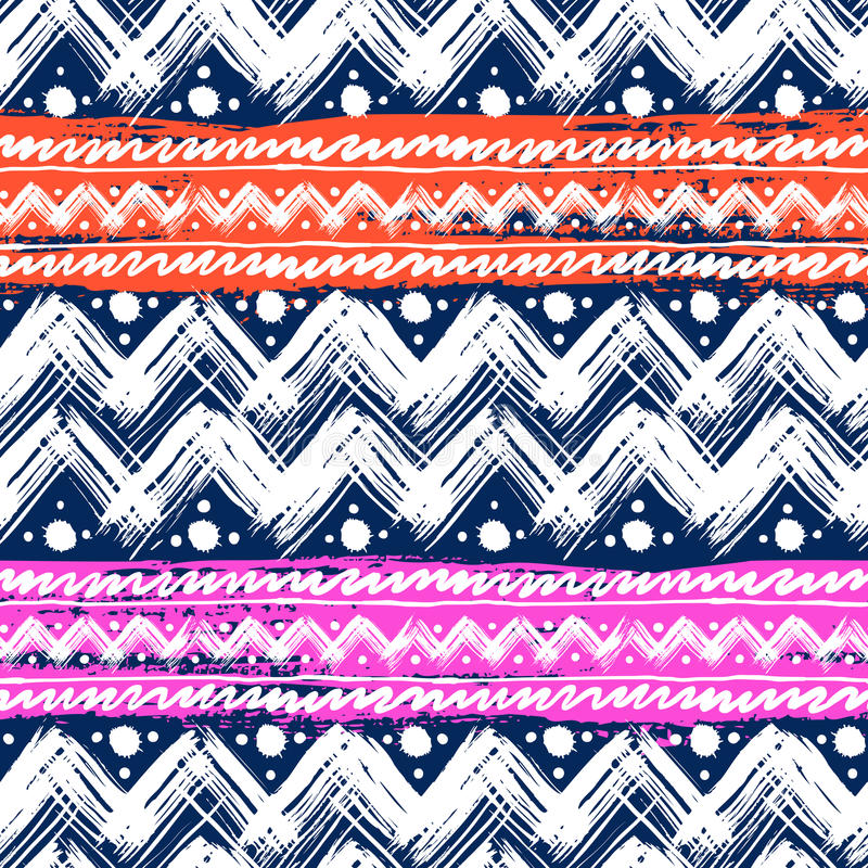 Etnisch patroon dat met zigzagpenseelstreken wordt geschilderd stock illustratie