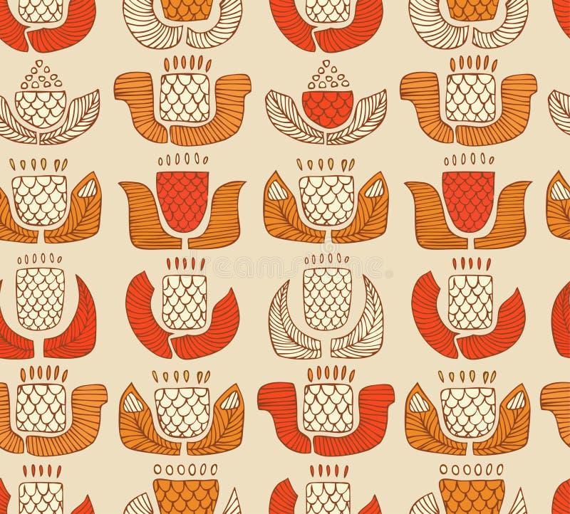Etnisch patroon met decoratieve bloemen, knoppen en bladeren Eindeloze achtergrond met sier inheemse elementen vector illustratie