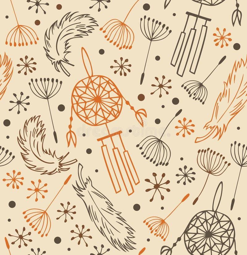 Etnisch patroon Naadloze nationale achtergrond met bloemen, veren en droomvangers vector illustratie
