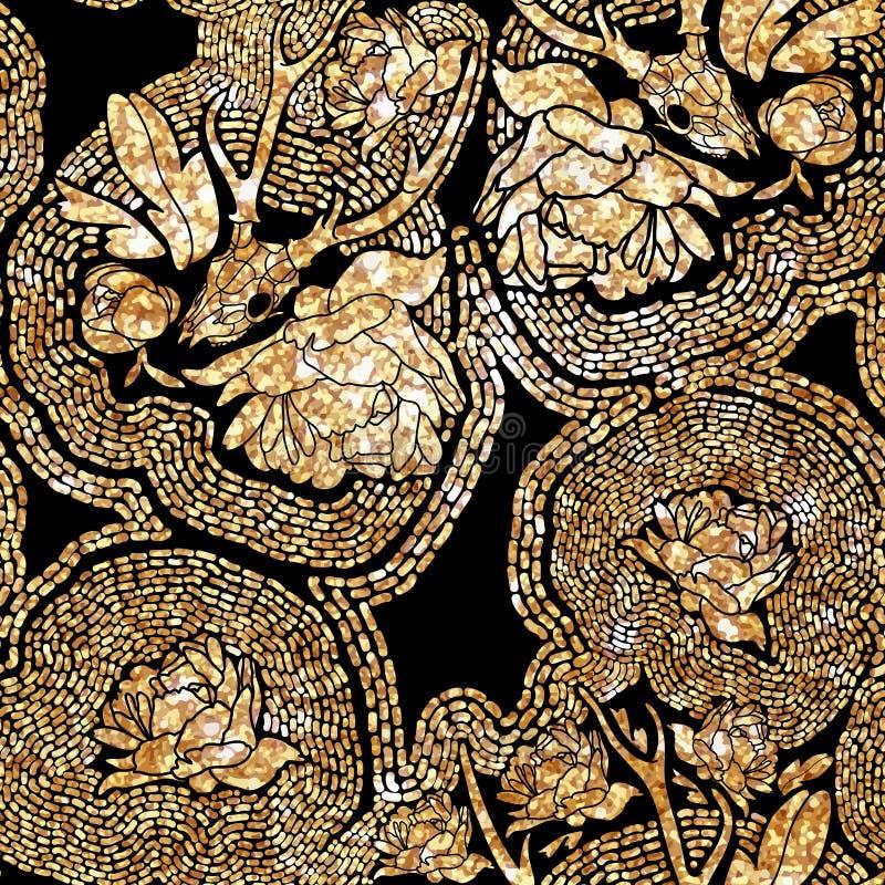 Etnisch patroon in zentanglestijl voor textiel, royalty-vrije stock afbeeldingen