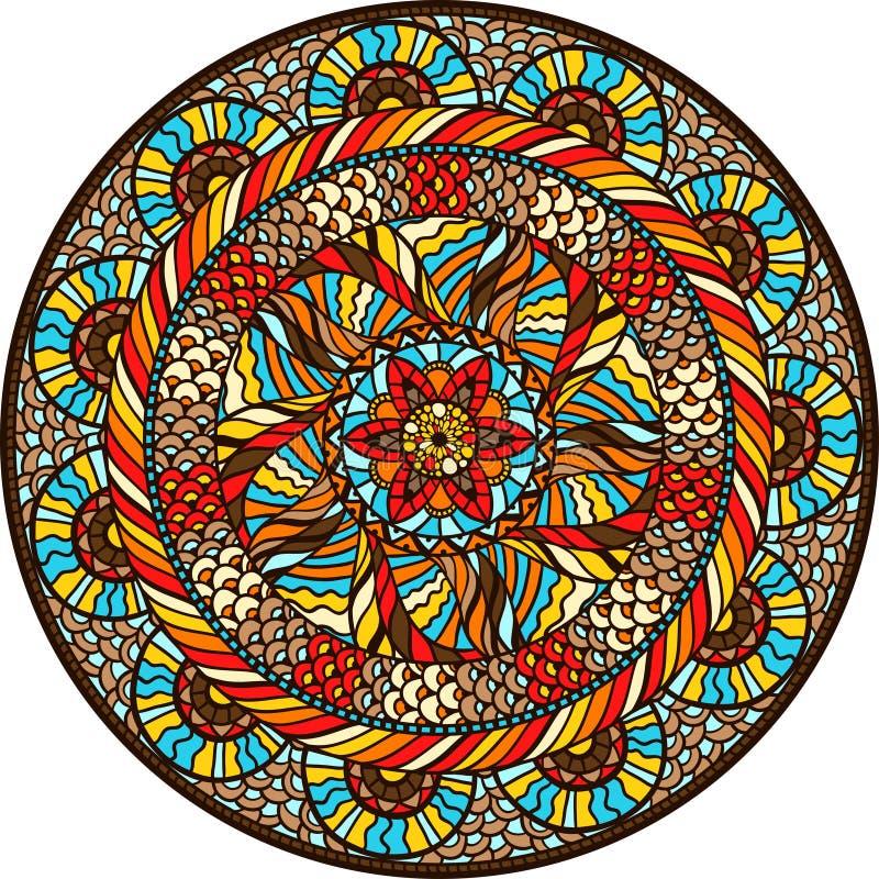 Etnisch rond patroon met hand getrokken ornament royalty-vrije illustratie