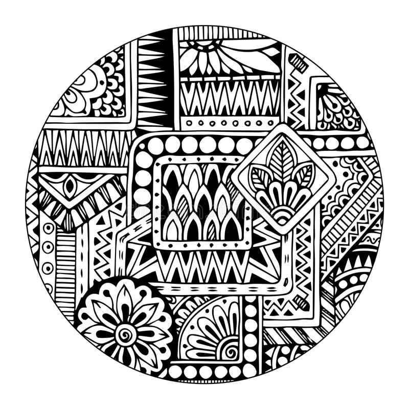 Etnisch stammenpatroon in cirkel Zwart-witte mozaïekmandala Abstracte vectorachtergrond Gestreept geometrisch stammenpatroon vector illustratie