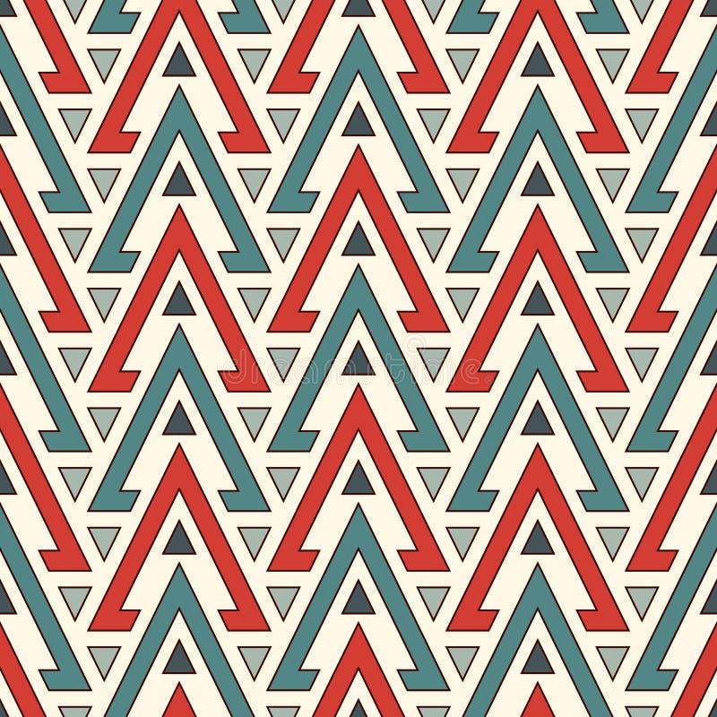 Etnisch stijl naadloos patroon met herhaalde driehoeken De inheemse sier abstracte achtergrond van Amerikanen Stammenmotief royalty-vrije illustratie