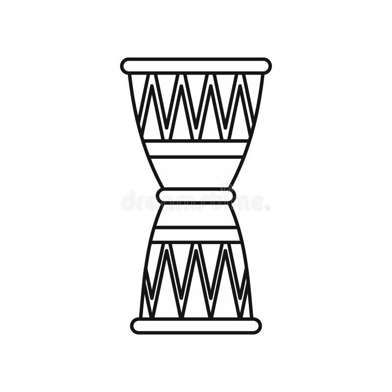 Etnisch trommelpictogram, overzichtsstijl vector illustratie