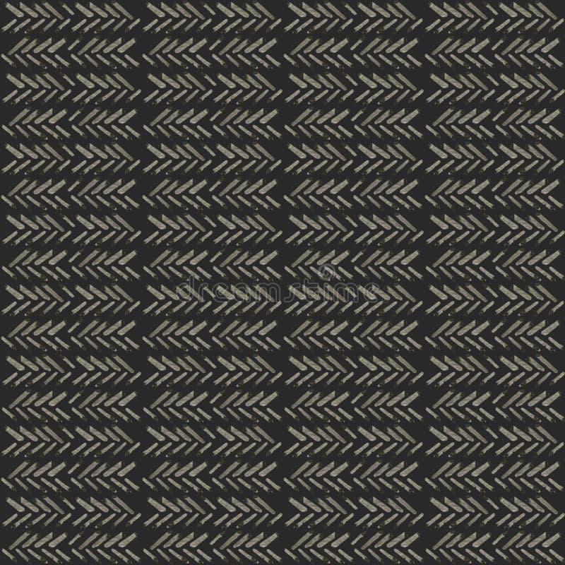 Etnisch waterverfpatroon Manier Azteekse geometrische zwarte achtergrond Hand getrokken zwart-wit patroon Modern abstract behang royalty-vrije illustratie