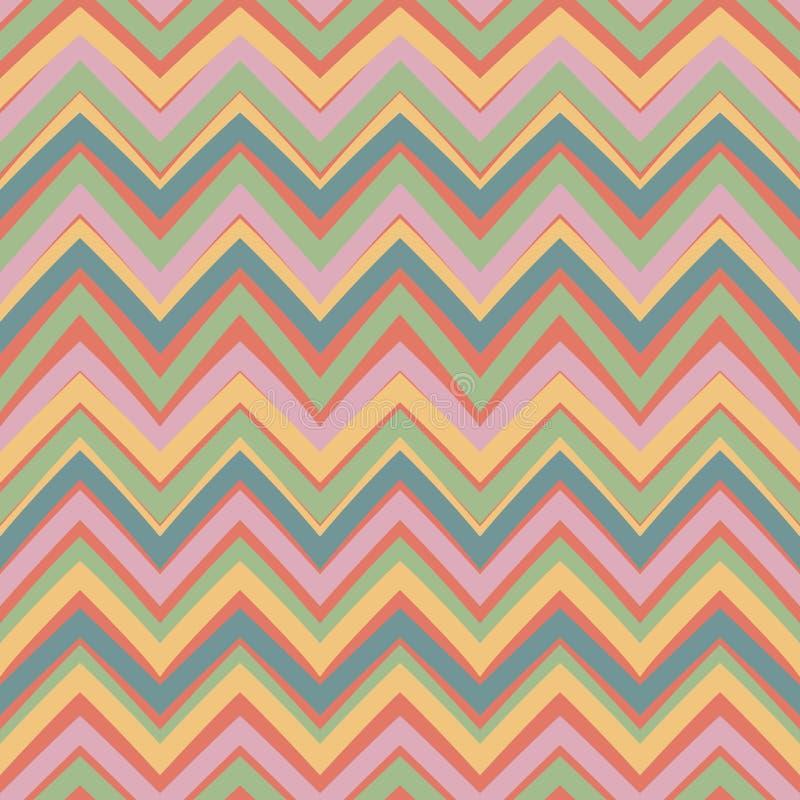 Etnisch zigzagpatroon in retro kleuren royalty-vrije illustratie